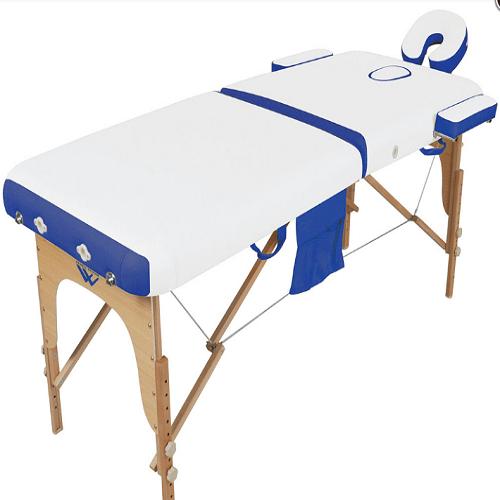 Стол массажный, складной, каркас деревянный, 2-х секц, бел/синий МЕД-МОС JF-AY01(PW2.20.13A-00) (от 22 р/сут)
